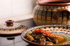 Stewed meat with mushrooms and sweet pepper Stock Photo