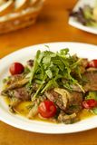Stewed meat and oyster mushrooms with vegetables Royalty Free Stock Photography