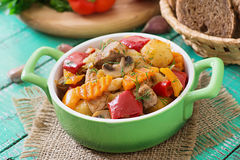 Stewed meat with vegetables Stock Photo