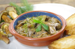 Stewed mushrooms with bread Royalty Free Stock Images