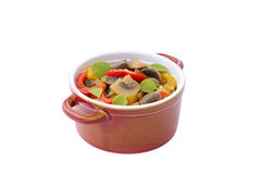 Stewed mushrooms with onion and sweet peppers Royalty Free Stock Photos