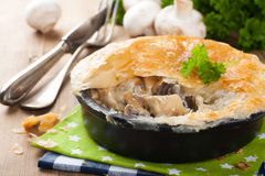 Stewed Mushrooms Under Puff Pastry. Stock Photography
