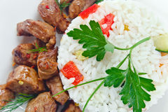 Stewed mutton with rice Royalty Free Stock Images