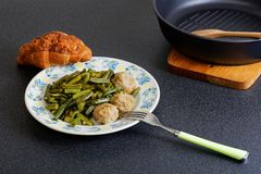 Stewed noisettes with french bean Stock Images