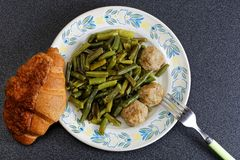 Stewed noisettes with french bean, Top view. Royalty Free Stock Photos