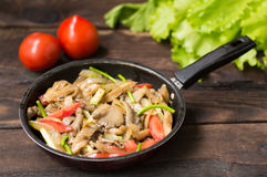 Free Stewed Oyster Mushrooms With Vegetables In A Pan. Wooden Background. Top View. Close-up Stock Images - 82716774