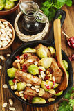 Stewed pork with brussels sprouts Royalty Free Stock Photography