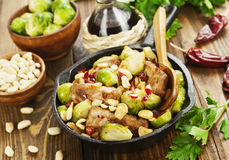 Stewed pork with brussels sprouts Royalty Free Stock Photos