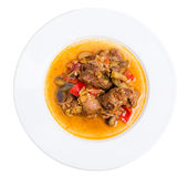Stewed pork with eggplant and paprika. Stock Images