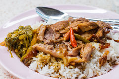 Stewed pork knuckles with rice Stock Photo