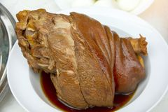 Stewed pork leg or boiled pork leg the one of the favorite food for Chinese food. royalty free stock image