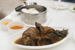 Stewed pork leg and Chinese steamed bun Stock Photography