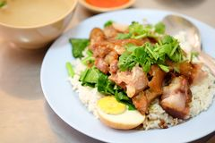 Stewed pork leg with egg and on rice Royalty Free Stock Photography