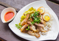 Stewed pork leg on rice. And boiled egg Royalty Free Stock Photo