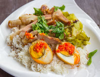 Stewed pork leg on rice Royalty Free Stock Photos