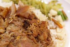 Stewed Pork leg on rice. Close up for stewed Pork leg on rice royalty free stock image