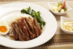 Stewed pork leg on rice Royalty Free Stock Photos