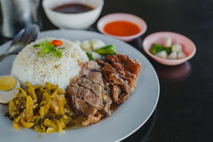 Stewed pork leg on rice Royalty Free Stock Images