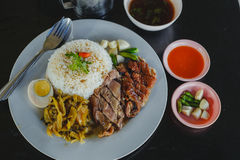 Stewed pork leg on rice Royalty Free Stock Photography