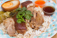 Stewed pork leg on rice Stock Photography