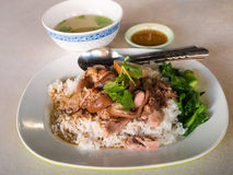 Stewed pork leg on rice Royalty Free Stock Photography