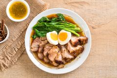Stewed pork leg. With egg and vegetable Stock Images
