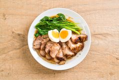 Stewed pork leg. With egg and vegetable Royalty Free Stock Photos