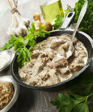 Stewed pork with mustard sauce. Stewed pork with sour cream and mustard sauce royalty free stock photos