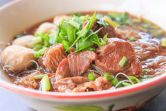 Stewed pork noodle. A Stewed pork noodle on the table Royalty Free Stock Photos