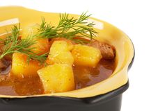 Stewed potatoes with meat and sprig of dill Royalty Free Stock Photography