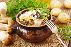 Stewed potatoes with mushrooms and sour cream Royalty Free Stock Image