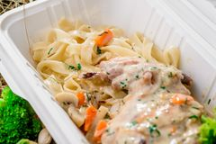 Stewed rabbit in cream sauce with pasta royalty free stock photography