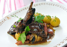 Stewed rabbit with potatoes Royalty Free Stock Photo