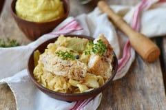 Stewed rockfish with sauerkraut. On ceramik bowl Stock Images