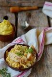 Stewed rockfish with sauerkraut Stock Images