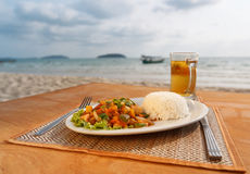Stewed seafood with vegetables and steamed rice Royalty Free Stock Photo