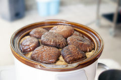 Stewed Shiitake Mushrooms in Slow Cooker Pot Stock Photography