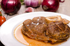 Stewed slice of veal shank Royalty Free Stock Image