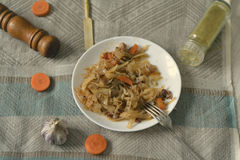 Stewed spicy cabbage on a plate Stock Photography