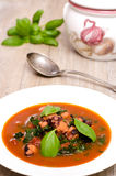 Stewed squid with basil Royalty Free Stock Image