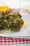 Stewed turnip greens. Stock Photo