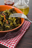 Stewed turnip greens. Cime di rapa stufate. Royalty Free Stock Photo