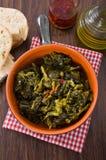 Stewed turnip greens. Cime di rapa stufate. Stock Images