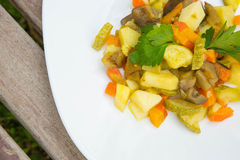 Stewed vegetables with curcuma Royalty Free Stock Photography