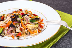 Stewed vegetables with mushrooms mun, soybean sprouts and bamboo Royalty Free Stock Photography