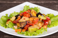 Stewed vegetables on the plate Royalty Free Stock Photography