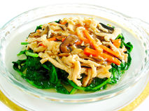 Stewed vegetables topped shredded chicken Royalty Free Stock Image