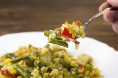 Stewed warzywa zakończenie, rozwidlenie, półkowi warzywa zdjęcie stock