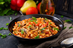 Free Stewed White Beans With Mushrooms And Tomatoes Royalty Free Stock Image - 98250736