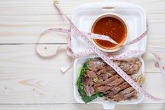 Stewed wieprzowiny noga z Rice wierzchołkiem talii miarą Zdjęcie Stock